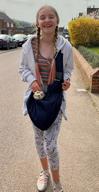 teenager with ferret in bag