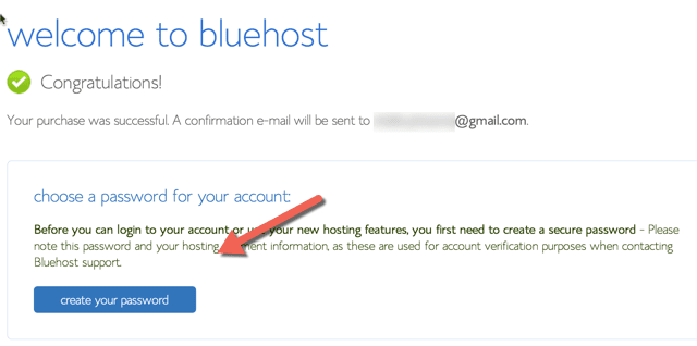 Bluehost payment confirmation
