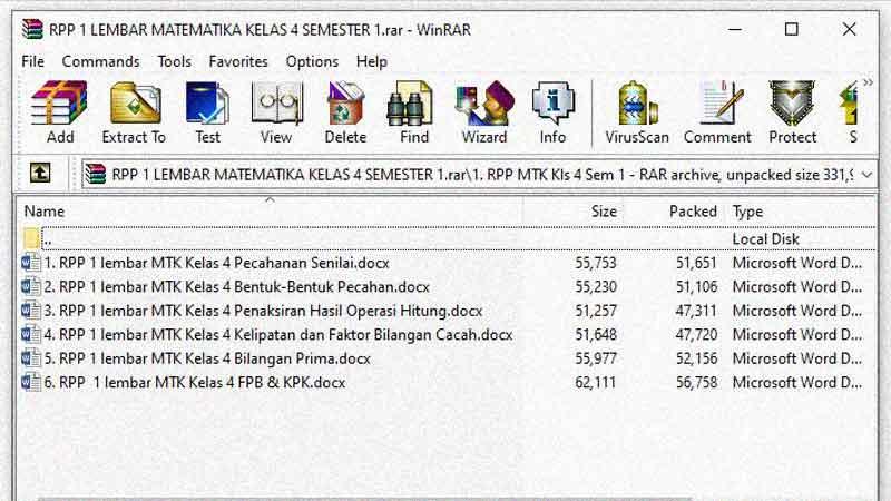 RPP 1 Lembar Matematika Kelas 4 Semester 1 K-13