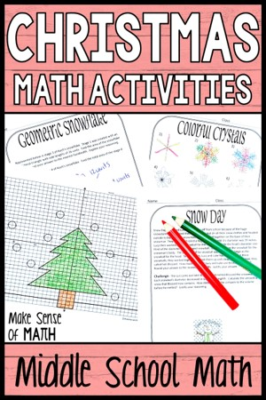 Christmas math activities for middle school math pin