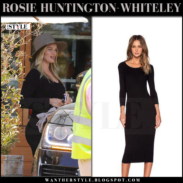 Rosie Huntington-Whiteley in black long sleeve dress enza costa with brown hat janessa leone lassen what she wore june 1 2017 maternity fashion