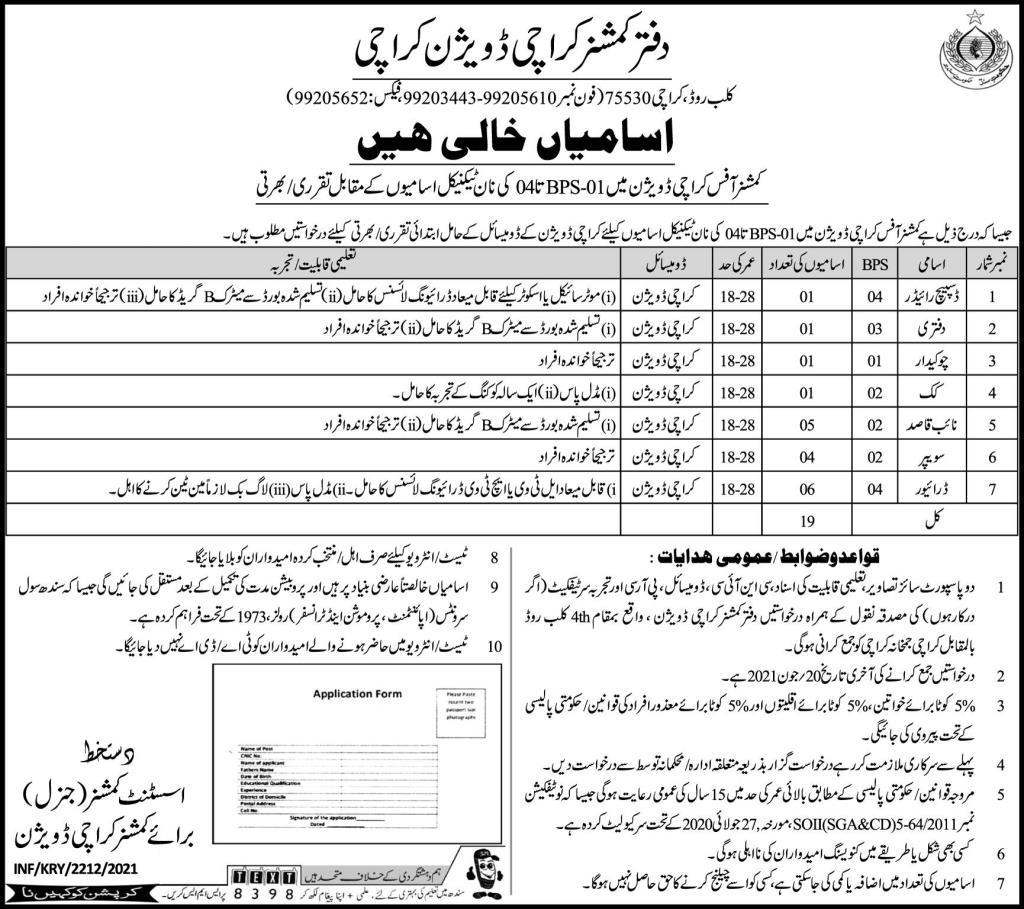 Deputy Commissioner Office Karachi Division Jobs 2021
