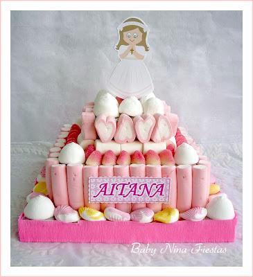 tarta de chuches comunión niña