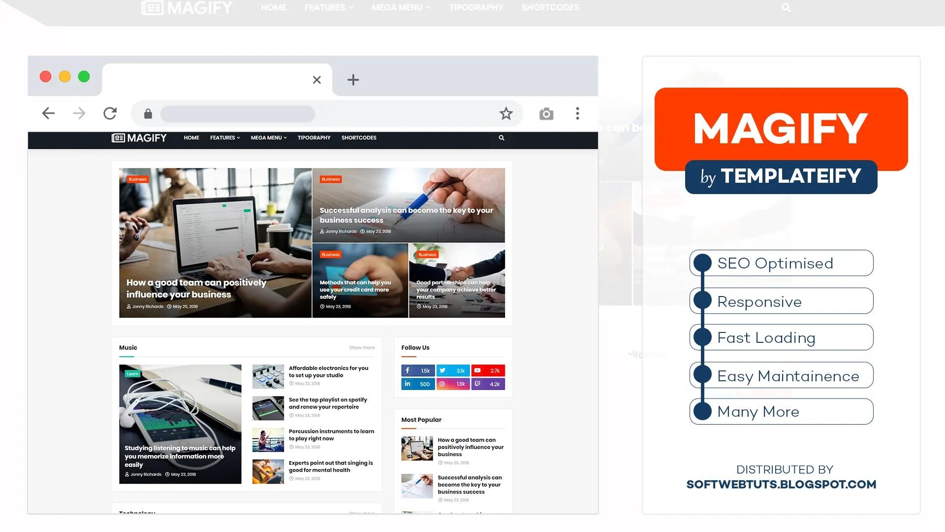 Magify - Responsive Magazine & News Blogger Template