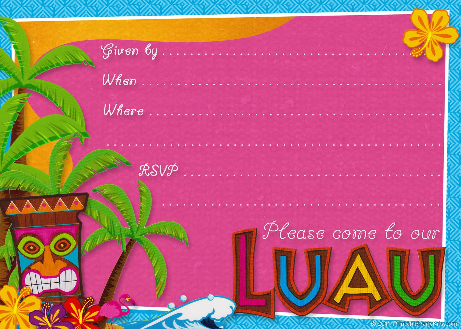 party planning center: free printable hawaiian luau party invitations, Birthday invitations