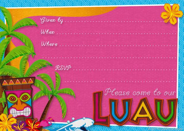Invitaciones Etiquetas Y Toppers De Fiesta Hawaiana Para