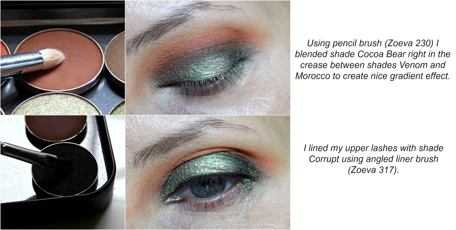 green halo eye look tutorial using Makeup Geek eyeshadows