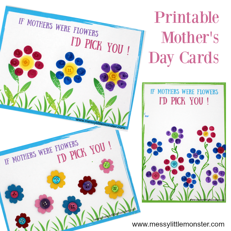 Mothers day card printable a fingerprint keepsake for for Mothers day cards from preschoolers