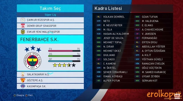 Add-On Turkish League PES 2018