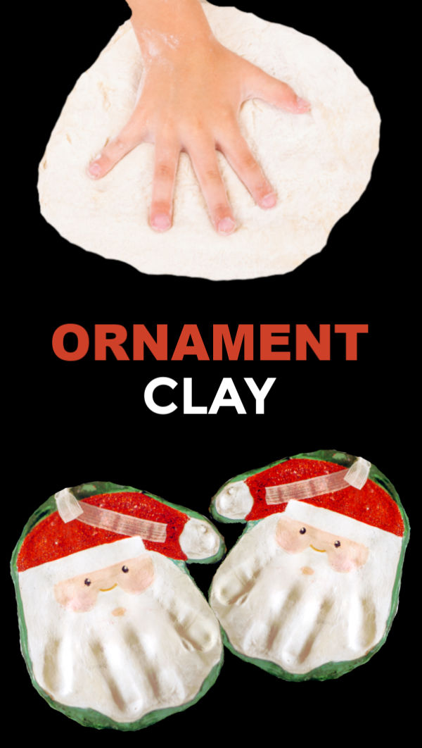 Make hand print ornaments for Christmas using this easy salt dough recipe.  Santa hands make a great keepsake! #saltdoughkeepsakes #saltdoughkidscrafts #saltdoughhandprints #saltdoughsantahandprint #handprintcrafts #saltdoughrecipe #saltdoughornaments #ornamentclayrecipe #ornamentclay #christmascrafts #growingajeweledrose #activitiesforkids