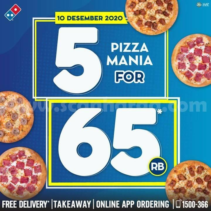 Domino's Pizza Promo 5 Pizza Mania hanya Rp 65.000,-