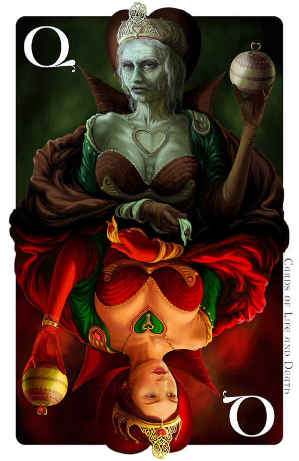 Cards of Life and Death by Kornél Ravadits - Queen of Hearts - Hjerter dronning