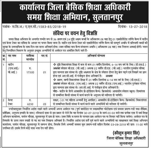 समग्र शिक्षा अभियान के तहत संविदा पर चयन हेतु सुल्तानपुर व लखनऊ जिले की विज्ञप्तियां जारी: देखें पदों का ब्यौरा व अर्हता