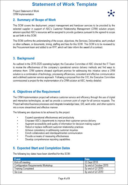statement of work template, SOW Template, simple statement of work template