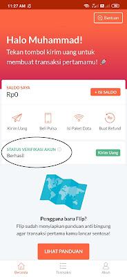 Bukti Akun Aplikasi Flip Berhasil di Verifikasi