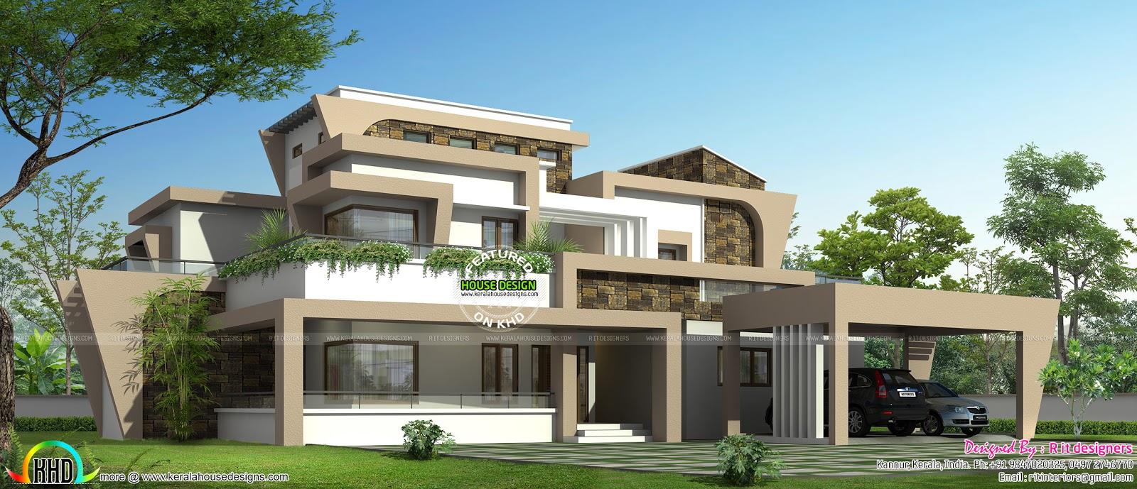 Unique modern home design in Kerala
