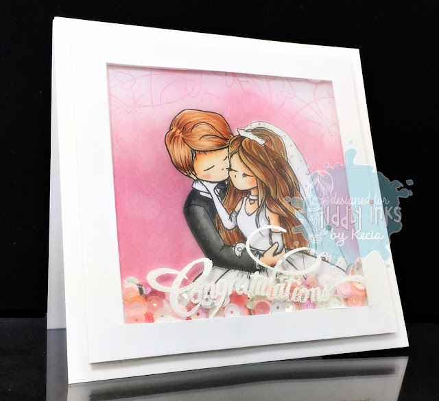 Tiddly Inks, Kecia Waters, Copic markers, wedding, shaker card