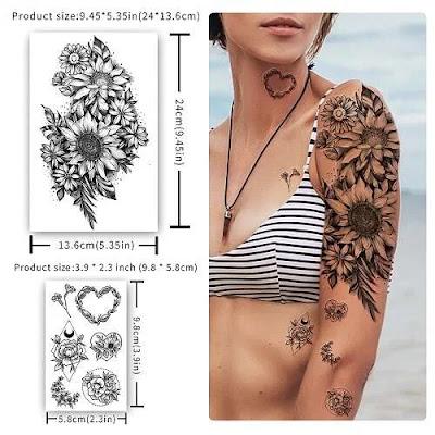Peony Rose Flowers Lady Waterproof Temporary 3D Girls Tattoo