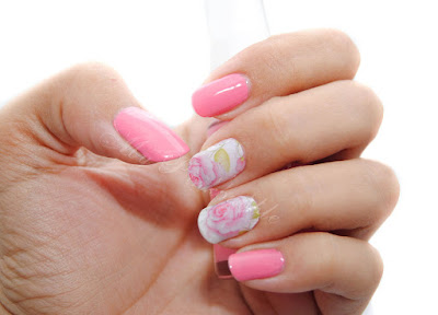 manicura water decals rosas