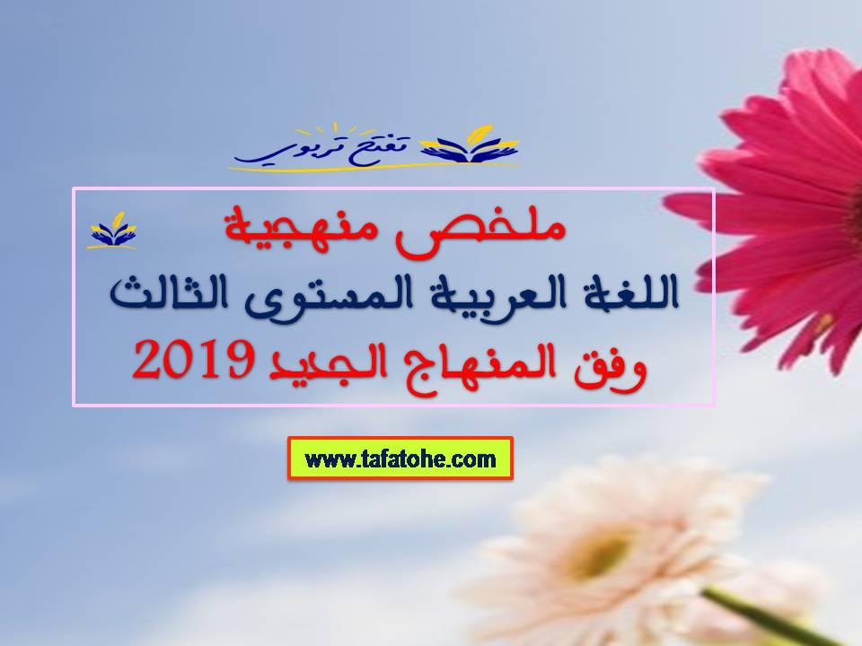 ملخص منهجية اللغة العربية المستوى الثالث وفق المنهاج الجديد