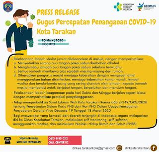 Press Release COVID-19 Tarakan 20 Maret 2020 - Tarakan Info