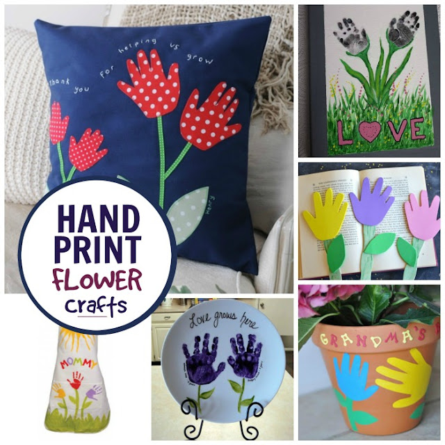 Handprint Flower Crafts for Kids #flowercraftsforkids