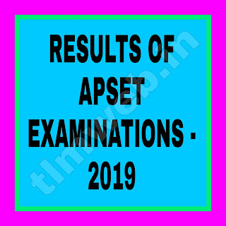 RESULTS OF APSET EXAMINATIONS - 2019