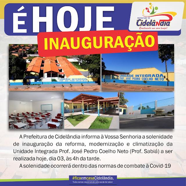 Prefeito Fernando Teixeira convida os Cidelandenses para a inauguração da Escola Jose Pedro Coelho Neto!!!