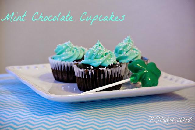 Chocolate cupcakes, cakes, shamrock candy