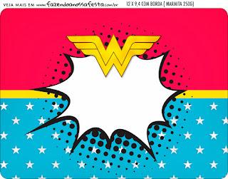 Mujer Maravilla Rubia: Invitaciones y Etiquetas para Candy Bar para Imprimir Gratis.