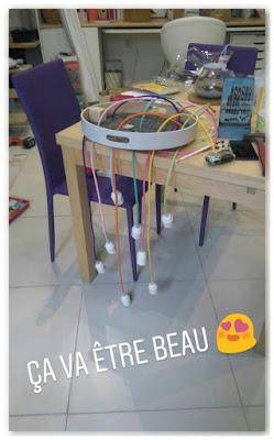 lustre multicolore DIY en cours