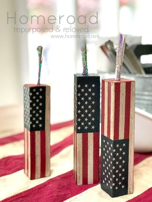 american flag firework blocks