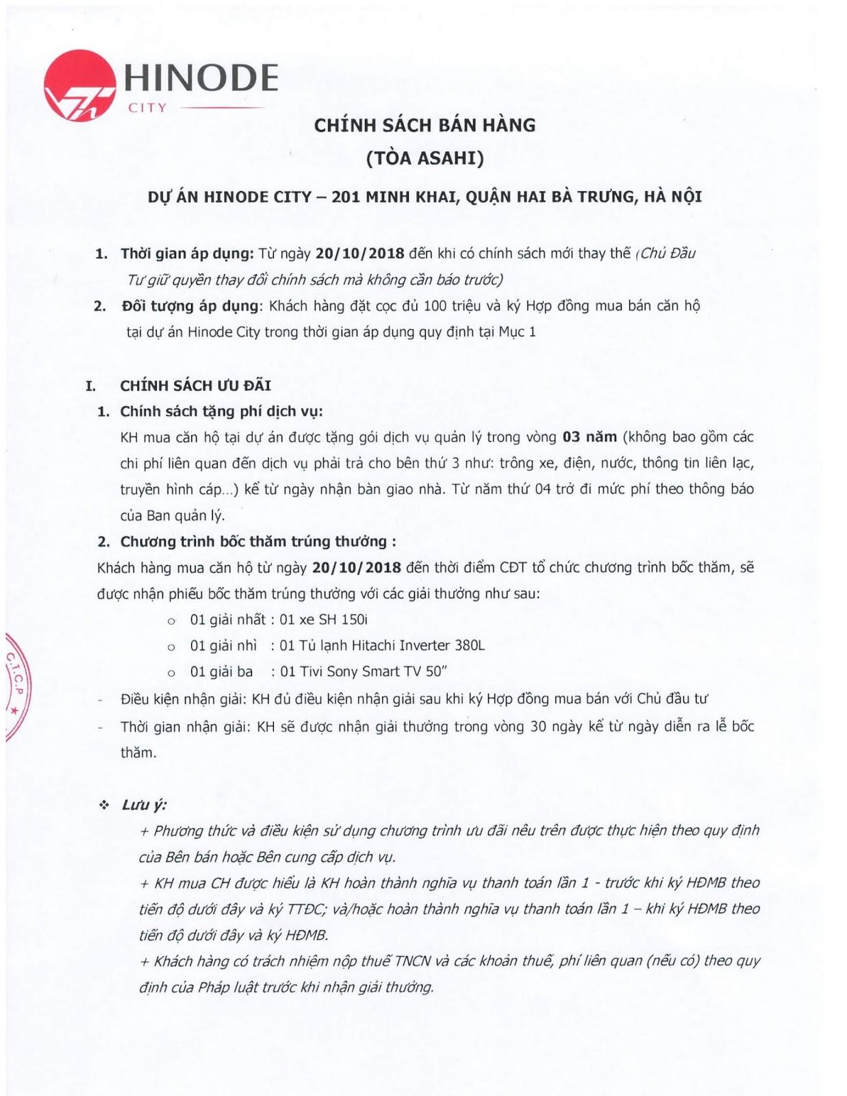 Chính sách bán hàng Hinode City tháng 10/2018