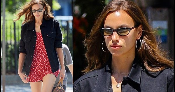 3ea0b3d91 Irina Shayk in red floral print mini dress and black denim jacket in NYC on  July 15 ~ I want her style - What celebrities wore and where to buy it.
