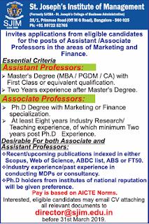 St.Joseph's Institute of Management, Bangalore Notification 2019 Associate Professor/Assistant Professor Jobs
