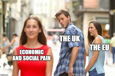 Distracted boyfriend meme: Girlfriend = The EU. Boyfriend = The UK. Other Girl = Economic and social pain.