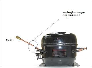 sambungan pentil dan pipa pengisian