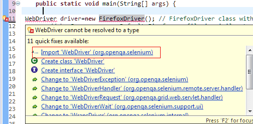 Solution suggestion for WebDriver and FirefoxDriver error
