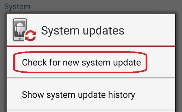 Check for new system update