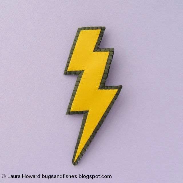 vegan leather lightning bolt brooch tutorial