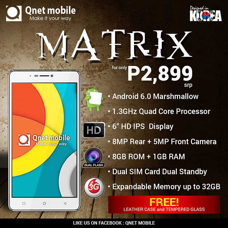 Qnet Mobile Matrix Is A Promising 6 Inch HD Phablet Under PHP 3K!