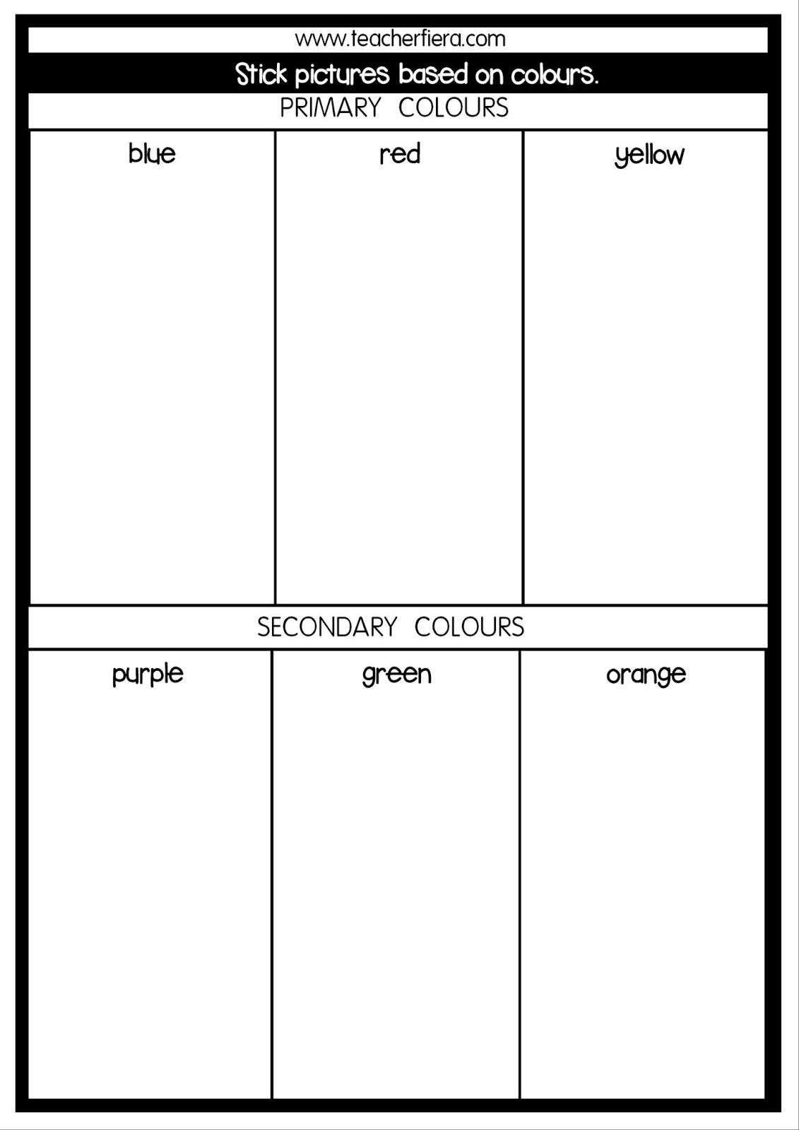 Teacherfiera Year 1 Unit 1 Colour Chart