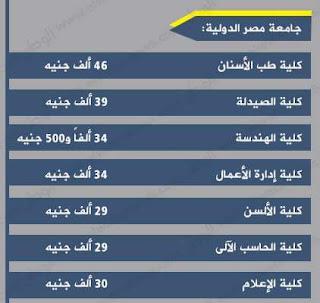 أسعار ومصروفات جامعة مصر الدولية فى مصر 2016-2017 بعد الزيادة :