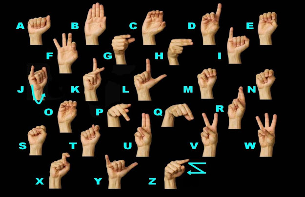All 26 sign language alphabets shown vividly with black background.