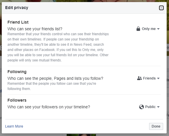 Facebook Friend list Privacy