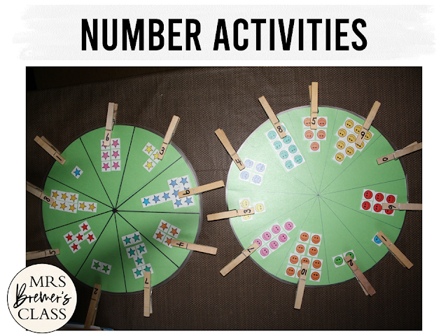 Math counting numbers and Alphabet phonics letter sounds learning activities for Kindergarten centers