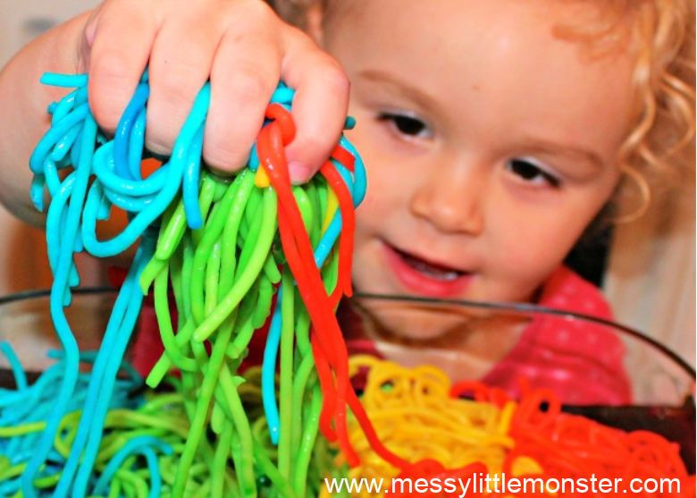 activities for babies - rainbow spaghetti sensory play