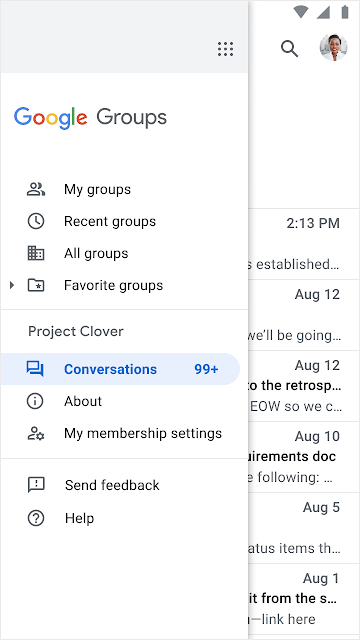 Improved mobile interface for new Google Groups 3