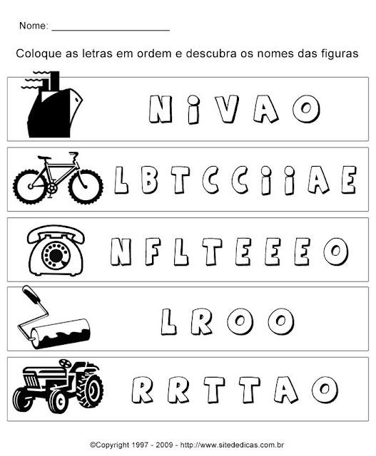 Atividades para Alfabetizar - Coloque as letras em ordem e descubra a palavra