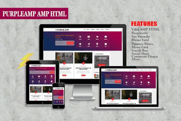 Purple AMP Premium Blogger Template Free Download